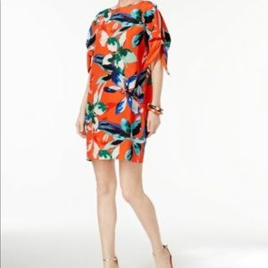 Vince Camuto Coral Floral Mid Length Shift Dress